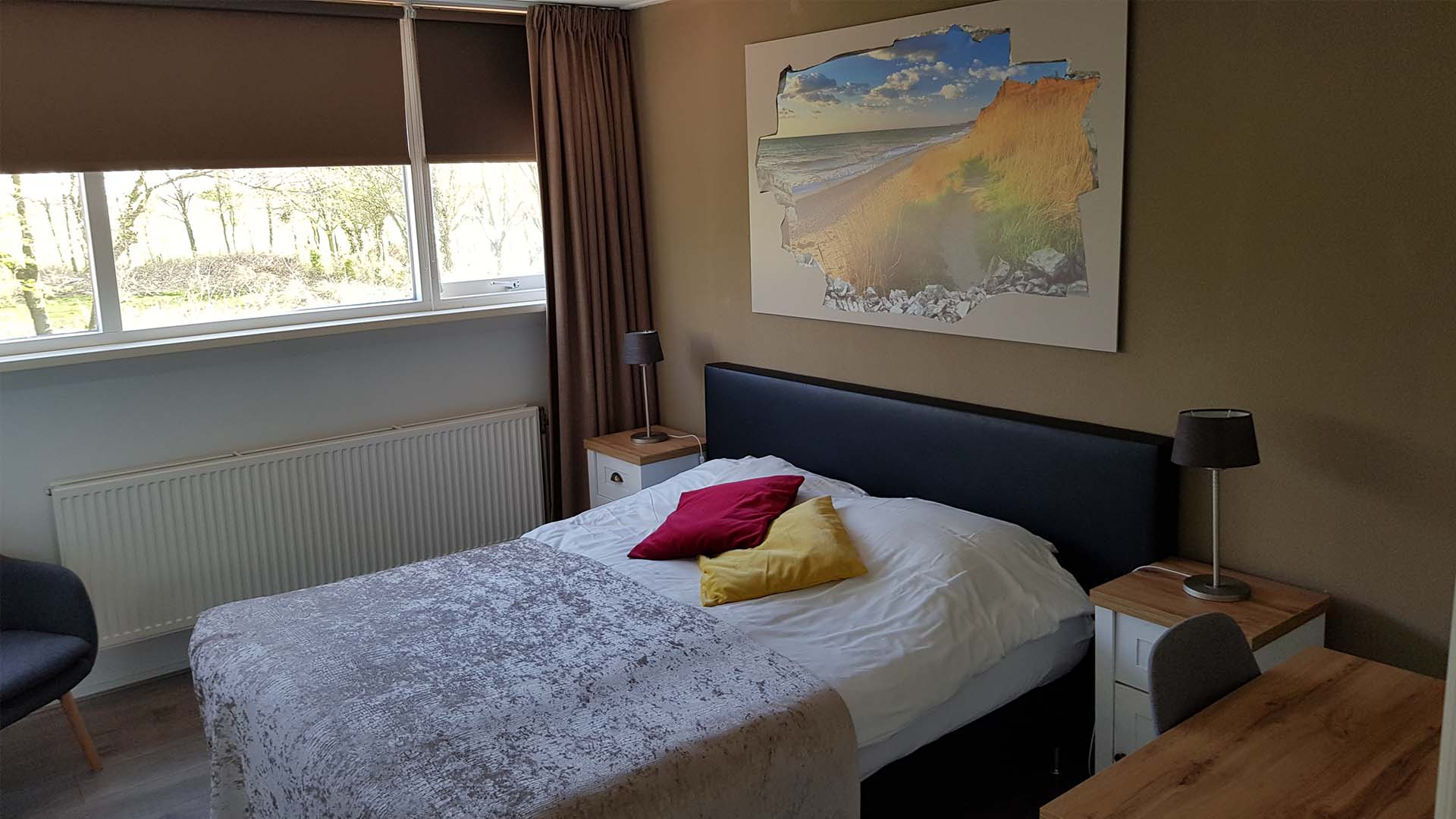 kamer 3 tweepersoonsbed B&B Plompetorenzicht Burg-Haamstede Zeeland